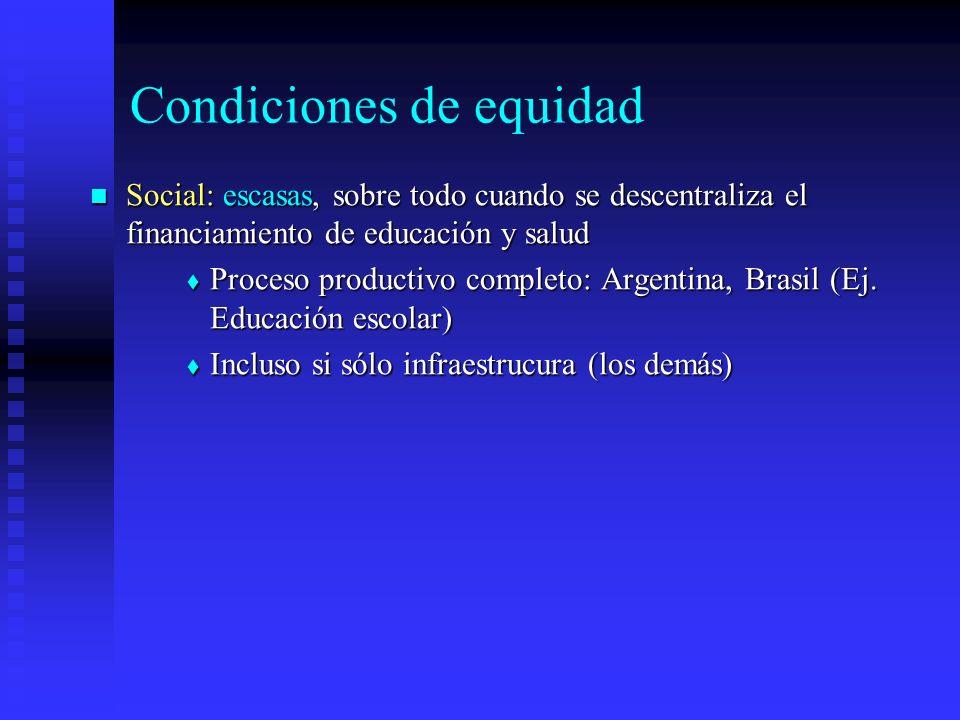 Condiciones de equidad Social: escasas, sobre todo cuando se descentraliza el financiamiento de educación y salud Social: escasas, sobre todo cuando se descentraliza el financiamiento de educación y salud Proceso productivo completo: Argentina, Brasil (Ej.