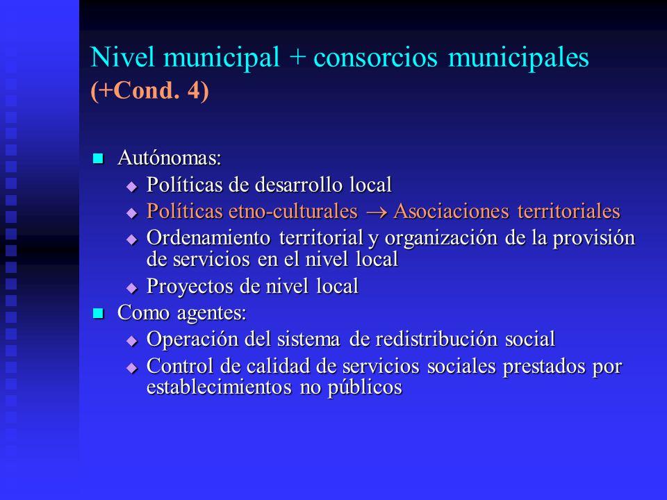 Nivel municipal + consorcios municipales (+Cond.