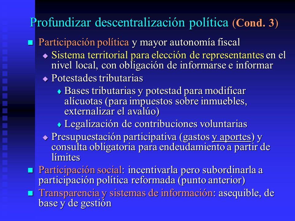 Profundizar descentralización política (Cond.