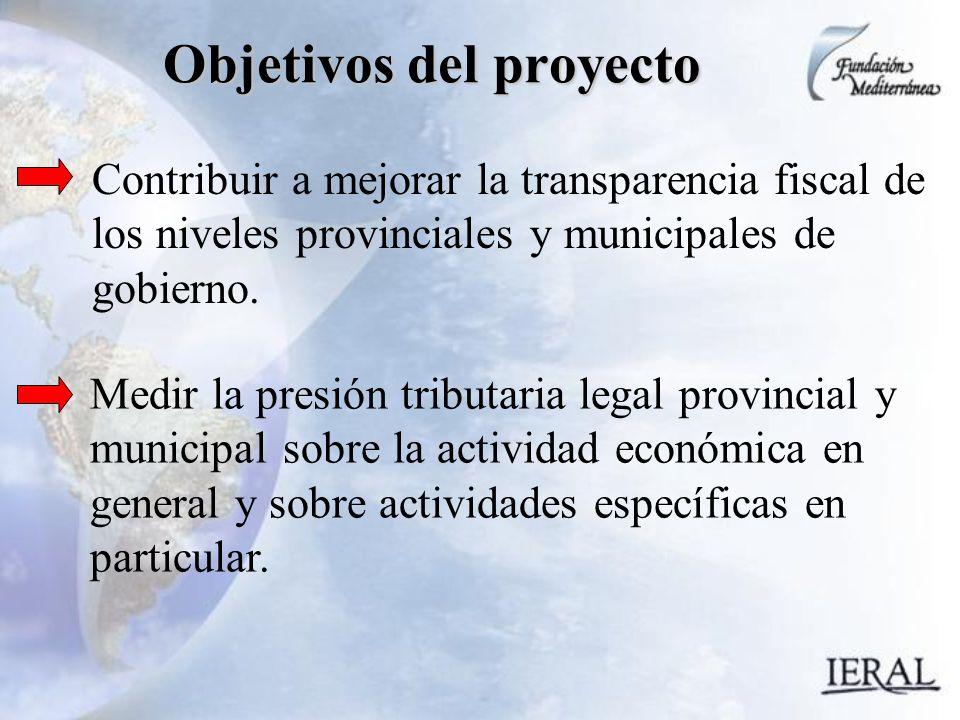 Objetivos del proyecto Contribuir a mejorar la transparencia fiscal de los niveles provinciales y municipales de gobierno.