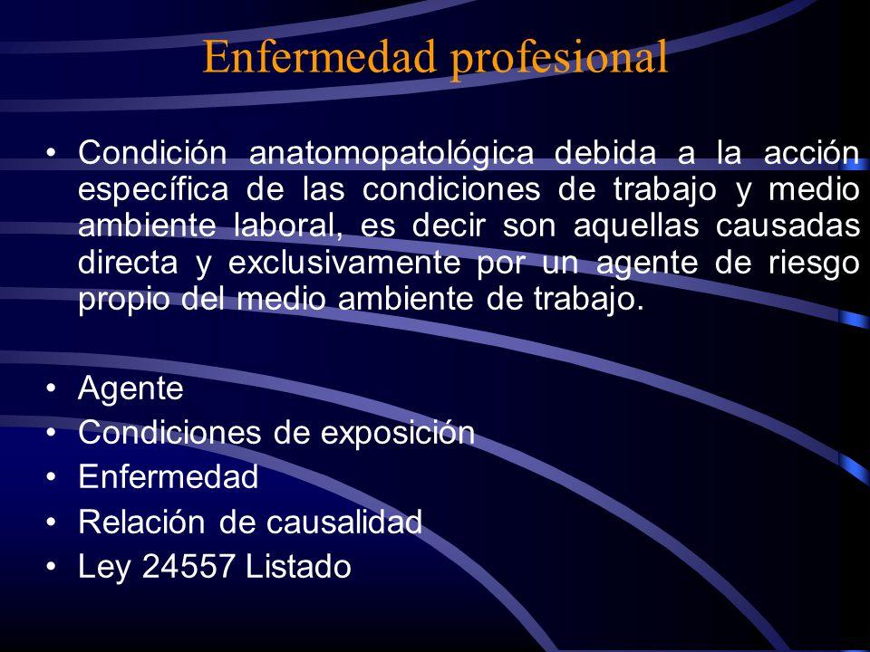 Enfermedad relacionada con el trabajo Enfermedades potenciadas, desencadenadas, agravadas o aceleradas por las exposiciones ocupacionales y condicione