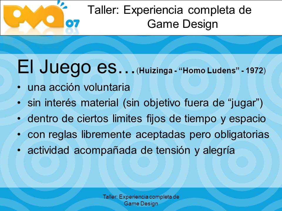 El Juego es… (Huizinga - Homo Ludens - 1972) una acción voluntaria sin interés material (sin objetivo fuera de jugar) dentro de ciertos limites fijos de tiempo y espacio con reglas libremente aceptadas pero obligatorias actividad acompañada de tensión y alegría
