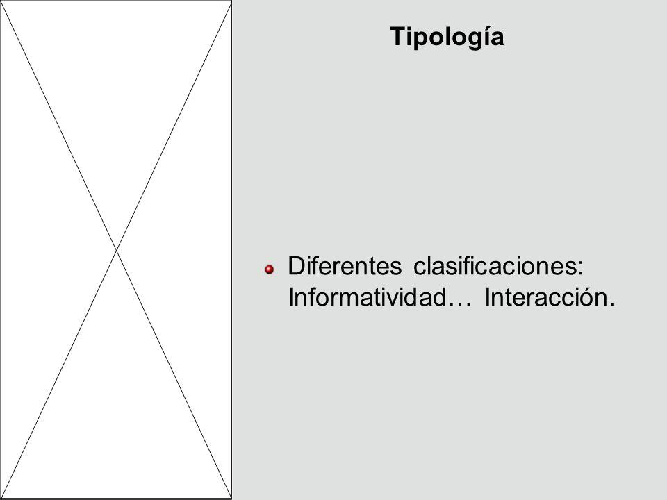 Tipología Diferentes clasificaciones: Informatividad… Interacción.