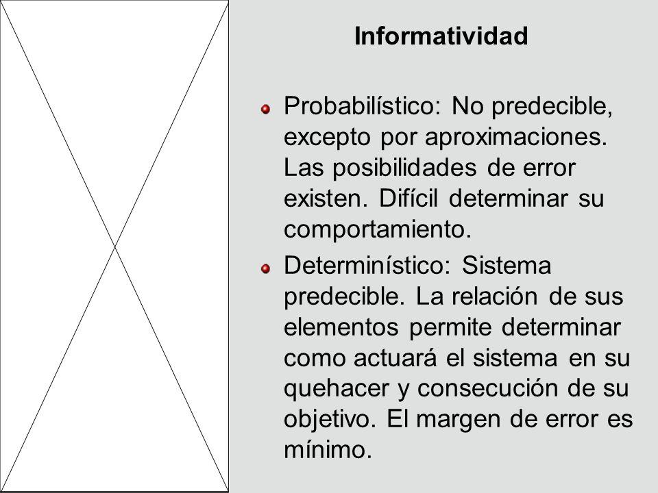 Informatividad Probabilístico: No predecible, excepto por aproximaciones. Las posibilidades de error existen. Difícil determinar su comportamiento. De