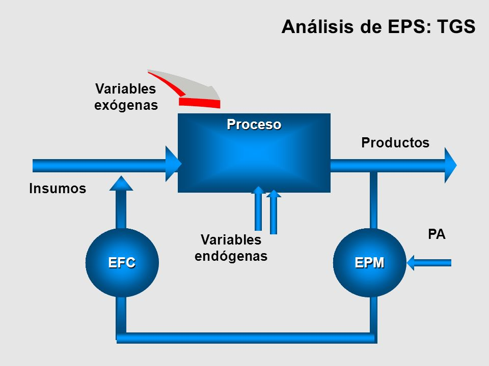 Análisis de EPS: TGS EFC Proceso PA EPM Variables endógenas Variables exógenas Insumos Productos