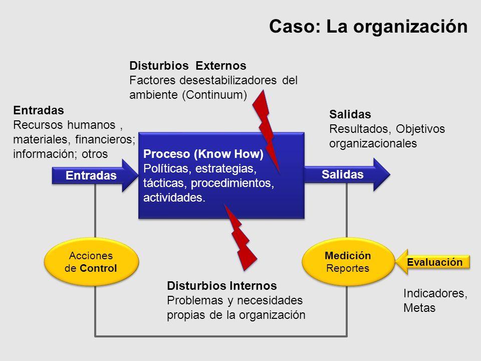 Caso: La organización Salidas Resultados, Objetivos organizacionales Entradas Recursos humanos, materiales, financieros; información; otros Disturbios