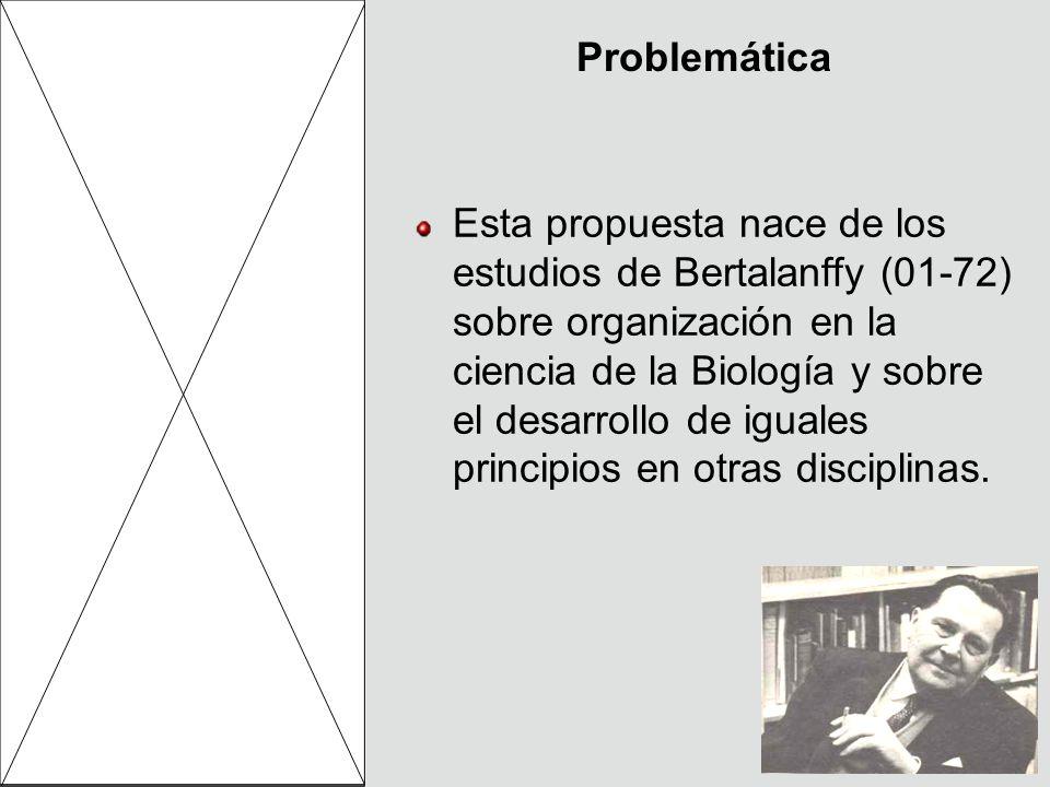 Problemática Esta propuesta nace de los estudios de Bertalanffy (01-72) sobre organización en la ciencia de la Biología y sobre el desarrollo de igual