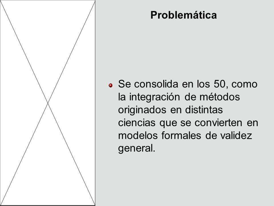 Problemática Se consolida en los 50, como la integración de métodos originados en distintas ciencias que se convierten en modelos formales de validez