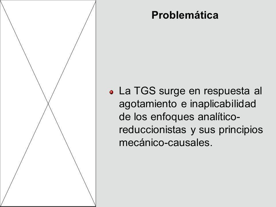 Problemática La TGS surge en respuesta al agotamiento e inaplicabilidad de los enfoques analítico- reduccionistas y sus principios mecánico-causales.