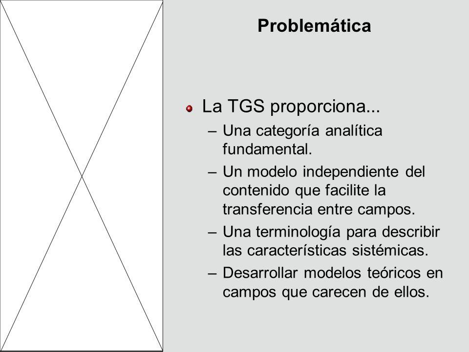 Problemática La TGS proporciona... –Una categoría analítica fundamental. –Un modelo independiente del contenido que facilite la transferencia entre ca