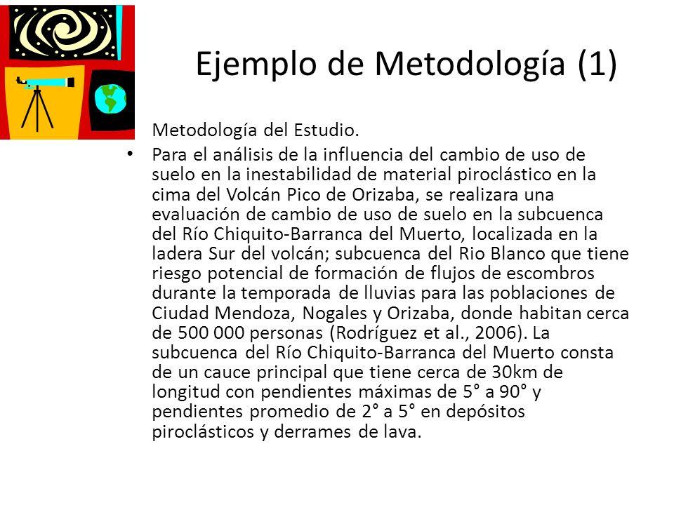 Ejemplo de Metodología (1) Metodología del Estudio. Para el análisis de la influencia del cambio de uso de suelo en la inestabilidad de material piroc