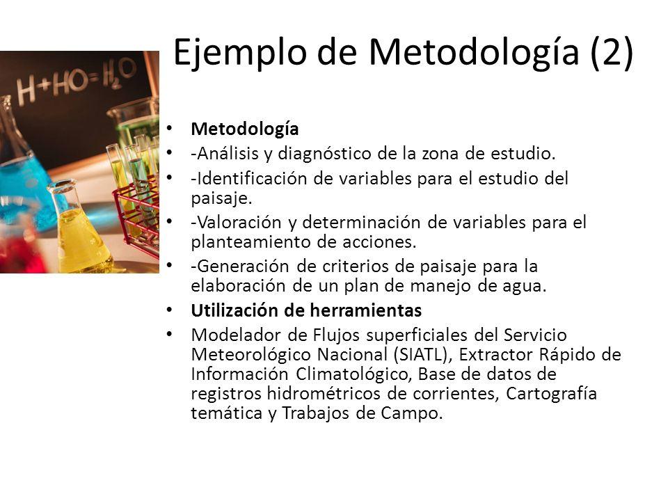 Ejemplo de Metodología (2) Metodología -Análisis y diagnóstico de la zona de estudio. -Identificación de variables para el estudio del paisaje. -Valor