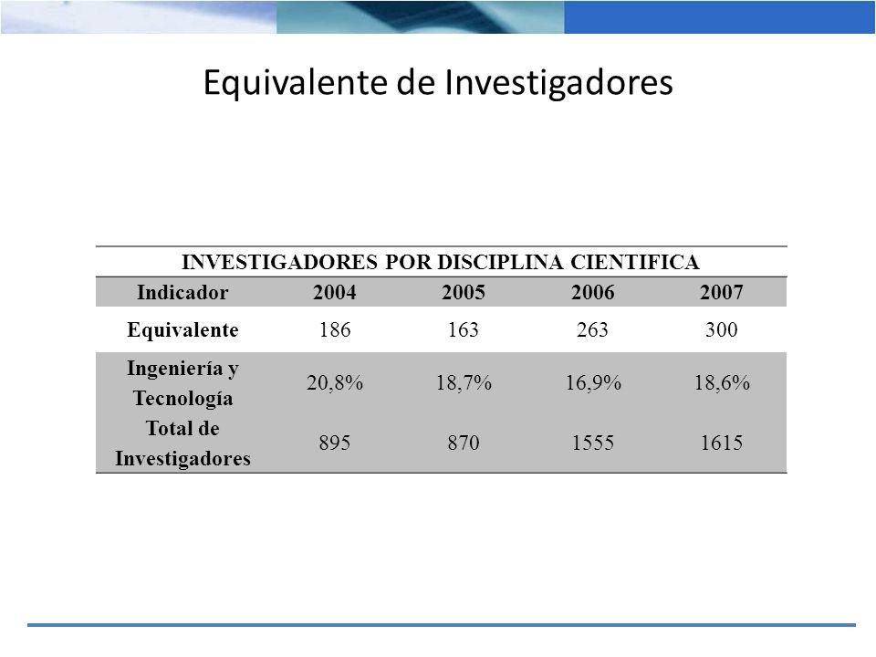 INVESTIGADORES POR DISCIPLINA CIENTIFICA Indicador2004200520062007 Equivalente186163263300 Ingeniería y Tecnología 20,8%18,7%16,9%18,6% Total de Inves