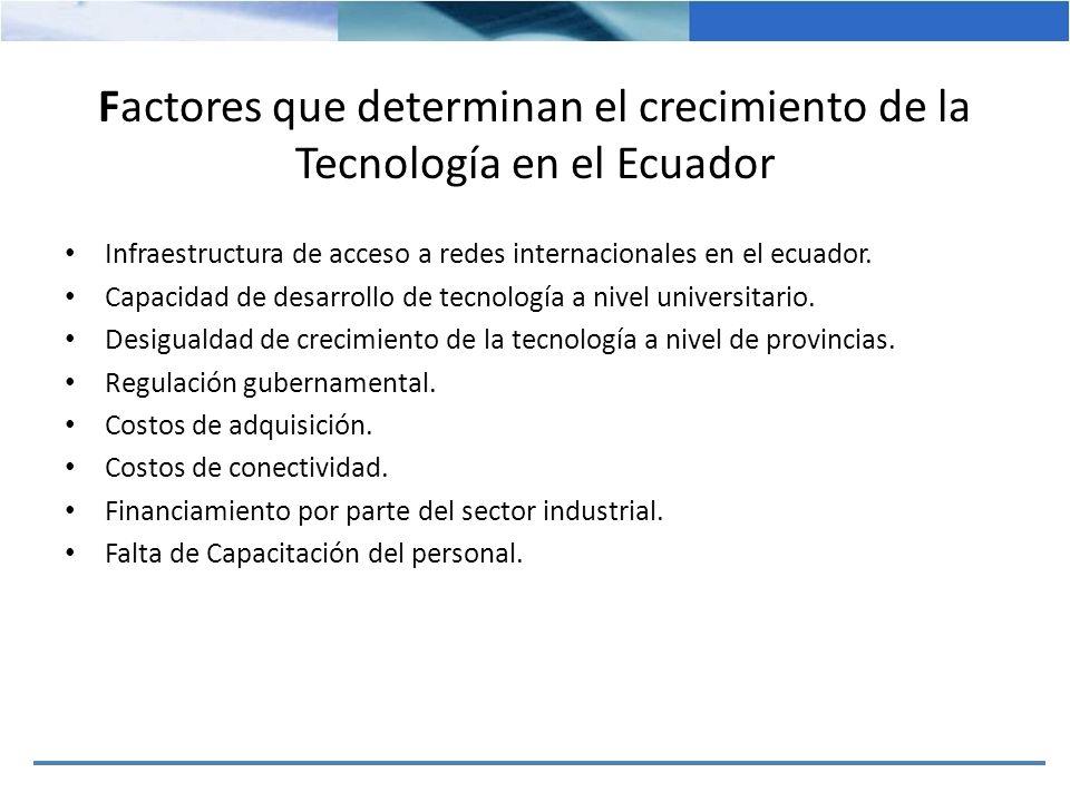 Factores que determinan el crecimiento de la Tecnología en el Ecuador Infraestructura de acceso a redes internacionales en el ecuador. Capacidad de de