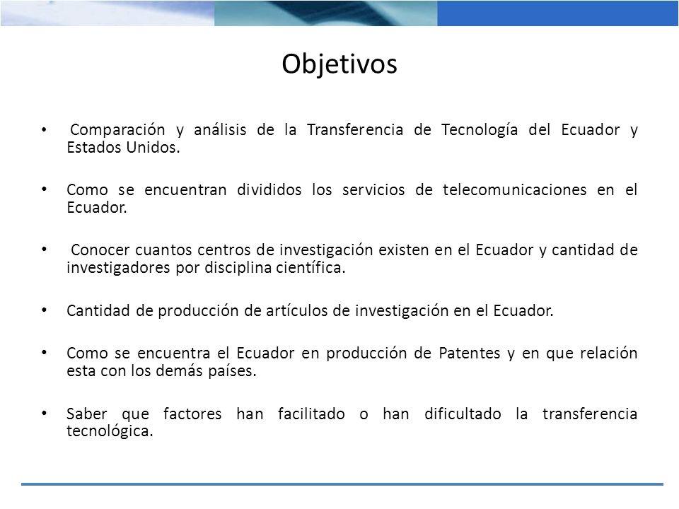Objetivos Comparación y análisis de la Transferencia de Tecnología del Ecuador y Estados Unidos. Como se encuentran divididos los servicios de telecom