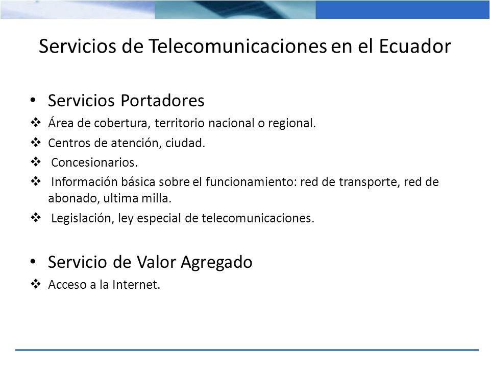 Servicios de Telecomunicaciones en el Ecuador Servicios Portadores Área de cobertura, territorio nacional o regional. Centros de atención, ciudad. Con