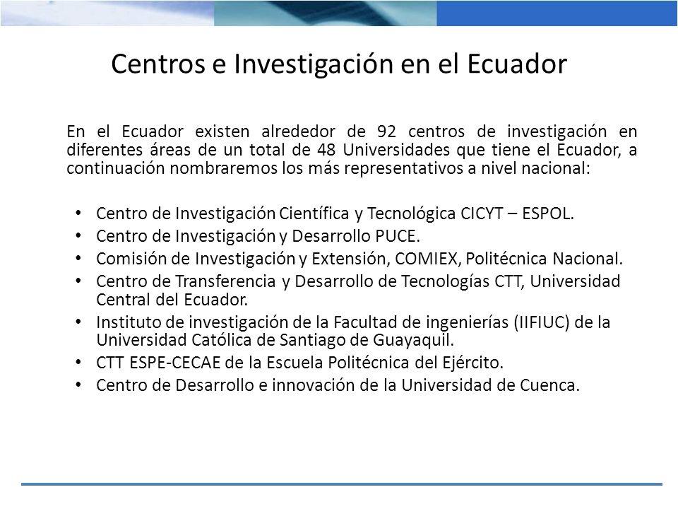 Centros e Investigación en el Ecuador En lo que respecta a la investigación en el Ecuador se muestra un cuadro donde se identifica la distribución de investigadores por disciplina científica y el total de investigadores en Ciencia y Tecnología: INVESTIGADORES POR DISCIPLINA CIENTIFICA Indicador2004200520062007 CS.