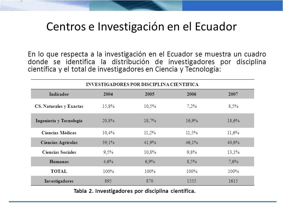 INVESTIGADORES POR DISCIPLINA CIENTIFICA Indicador2004200520062007 Equivalente186163263300 Ingeniería y Tecnología 20,8%18,7%16,9%18,6% Total de Investigadores 89587015551615 Equivalente de Investigadores