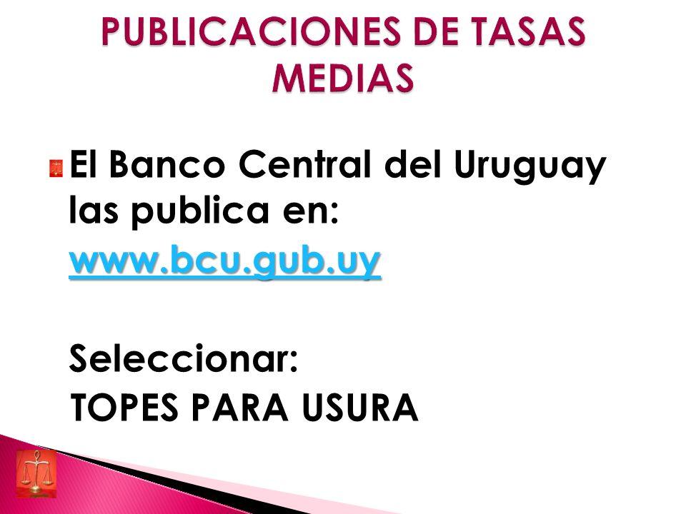 El Banco Central del Uruguay las publica en: www.bcu.gub.uy Seleccionar: TOPES PARA USURA
