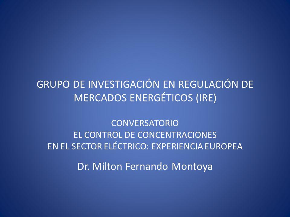 GRUPO DE INVESTIGACIÓN EN REGULACIÓN DE MERCADOS ENERGÉTICOS (IRE) CONVERSATORIO EL CONTROL DE CONCENTRACIONES EN EL SECTOR ELÉCTRICO: EXPERIENCIA EUR