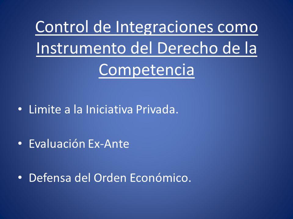 Control de Integraciones como Instrumento del Derecho de la Competencia Limite a la Iniciativa Privada. Evaluación Ex-Ante Defensa del Orden Económico