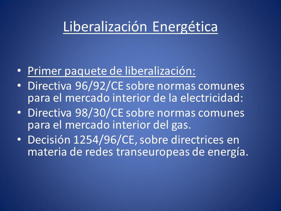 Liberalización Energética Primer paquete de liberalización: Directiva 96/92/CE sobre normas comunes para el mercado interior de la electricidad: Direc
