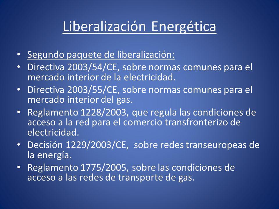 Liberalización Energética Segundo paquete de liberalización: Directiva 2003/54/CE, sobre normas comunes para el mercado interior de la electricidad. D