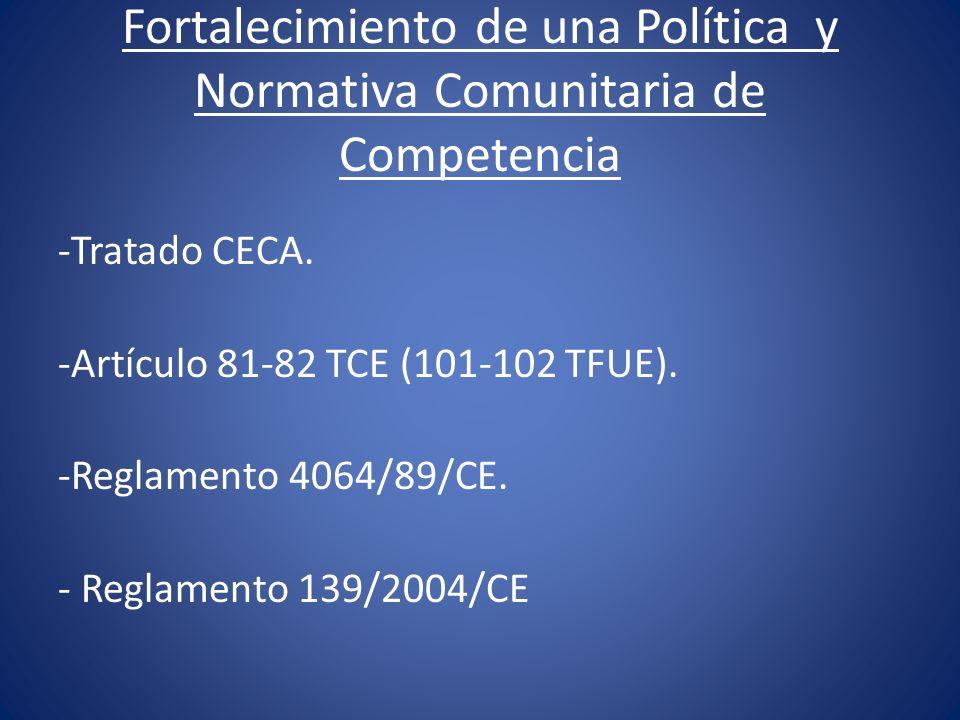 Fortalecimiento de una Política y Normativa Comunitaria de Competencia -Tratado CECA. -Artículo 81-82 TCE (101-102 TFUE). -Reglamento 4064/89/CE. - Re