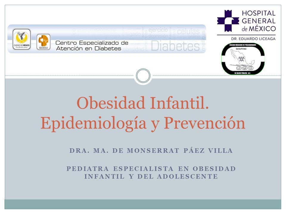DRA. MA. DE MONSERRAT PÁEZ VILLA PEDIATRA ESPECIALISTA EN OBESIDAD INFANTIL Y DEL ADOLESCENTE Obesidad Infantil. Epidemiología y Prevención