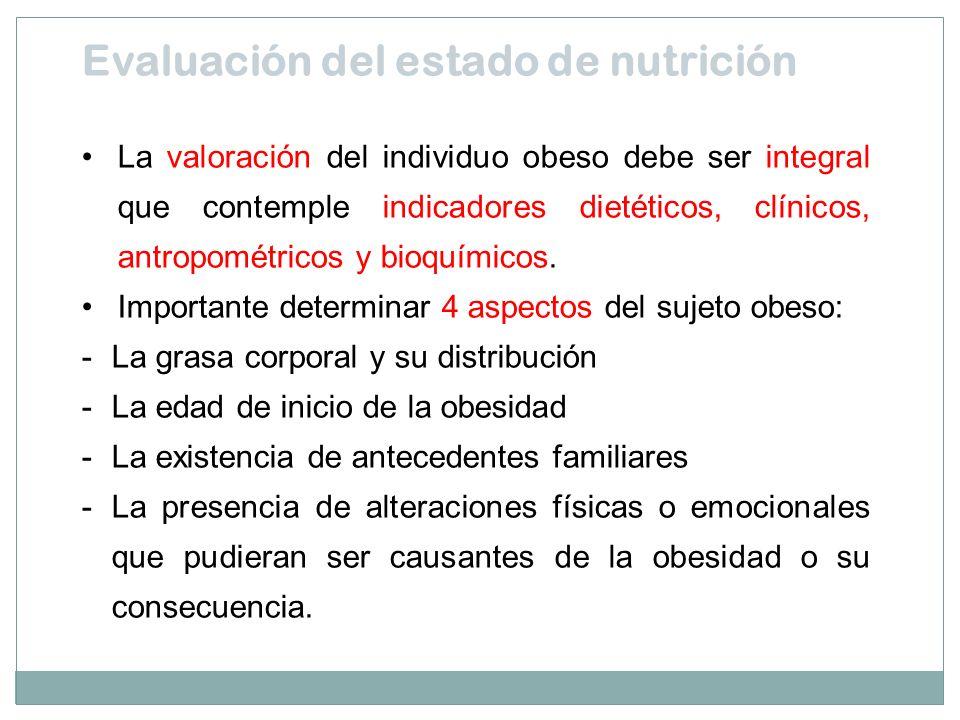 La valoración del individuo obeso debe ser integral que contemple indicadores dietéticos, clínicos, antropométricos y bioquímicos. Importante determin