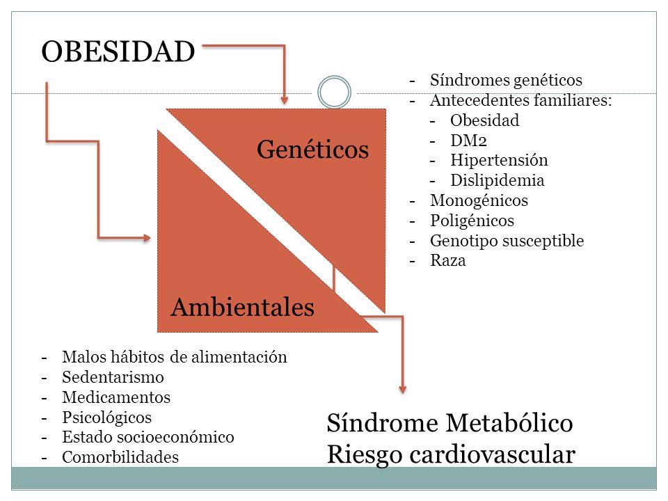 Síndrome Metabólico Riesgo cardiovascular Genéticos Ambientales -Malos hábitos de alimentación -Sedentarismo -Medicamentos -Psicológicos -Estado socio