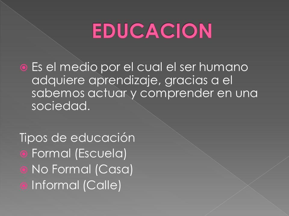 Es el medio por el cual el ser humano adquiere aprendizaje, gracias a el sabemos actuar y comprender en una sociedad. Tipos de educación Formal (Escue