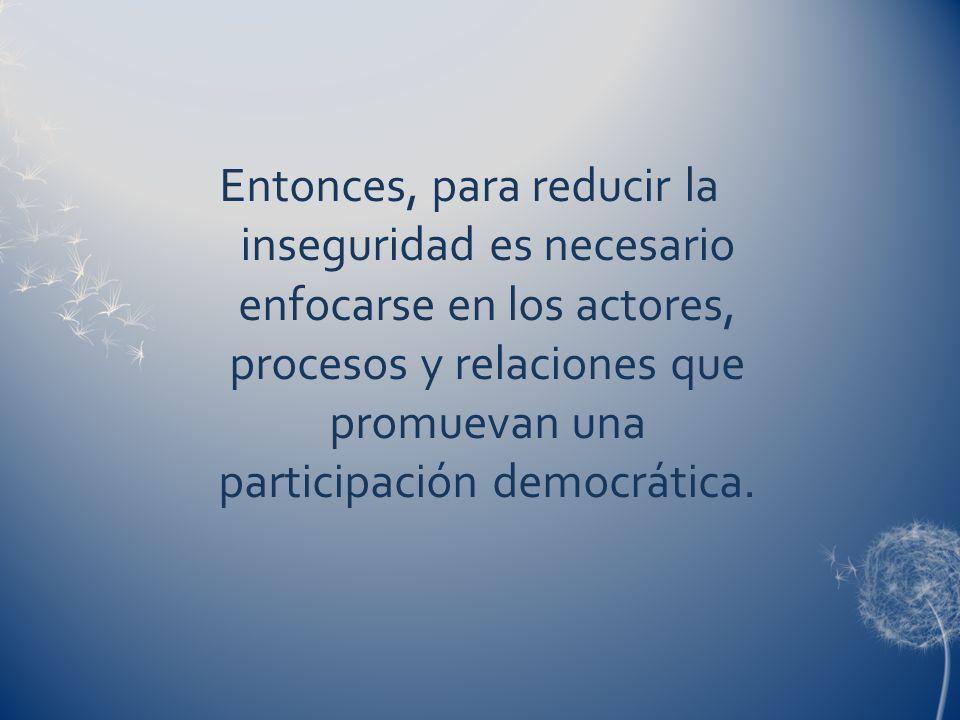 Entonces, para reducir la inseguridad es necesario enfocarse en los actores, procesos y relaciones que promuevan una participación democrática.