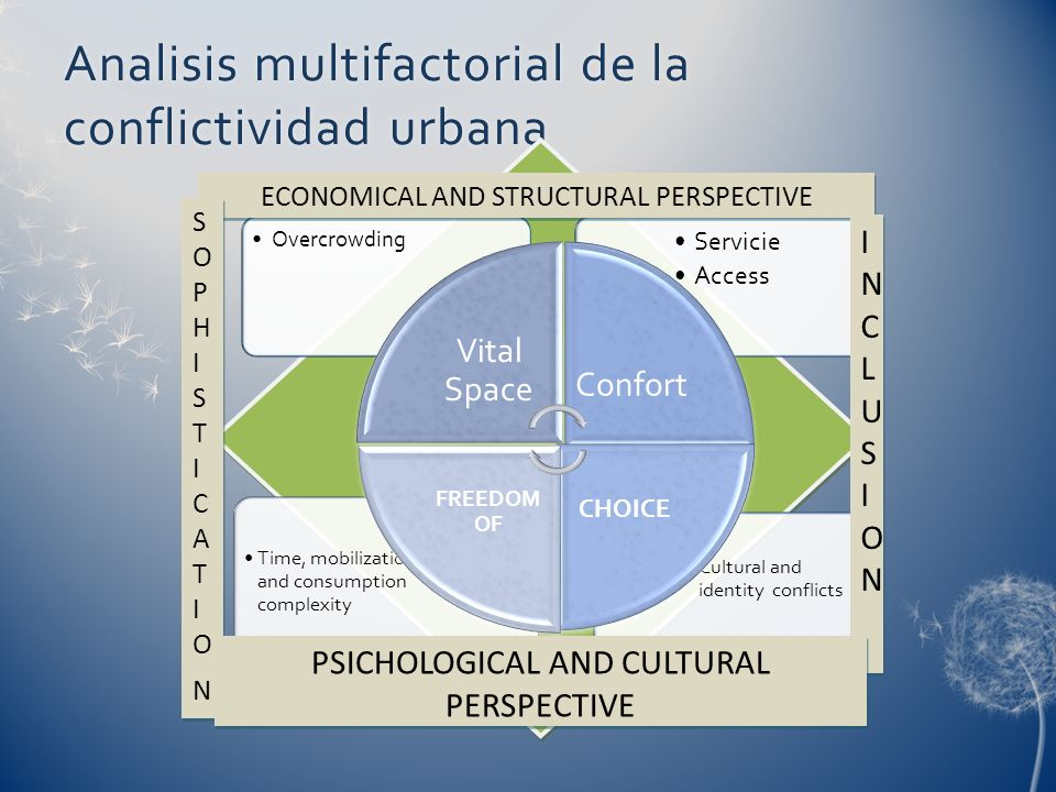 Analisis multifactorial de la conflictividad urbana Cultural and identity conflicts Time, mobilization and consumption complexity Servicie Access Over