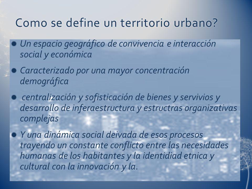 Como se define un territorio urbano?Como se define un territorio urbano? Un espacio geográfico de convivencia e interacción social y económica Caracte