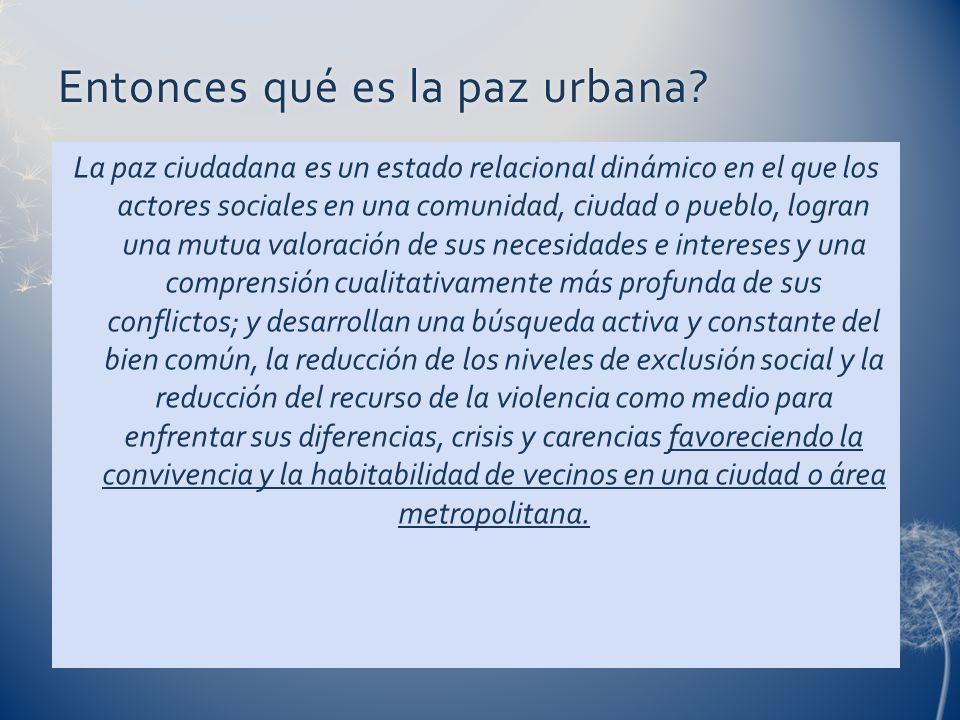 Entonces qué es la paz urbana?Entonces qué es la paz urbana? La paz ciudadana es un estado relacional dinámico en el que los actores sociales en una c