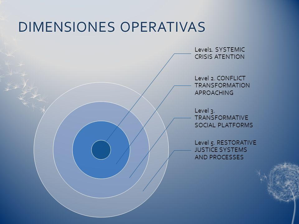 DIMENSIONES OPERATIVASDIMENSIONES OPERATIVAS Level1. SYSTEMIC CRISIS ATENTION Level 2. CONFLICT TRANSFORMATION APROACHING Level 3. TRANSFORMATIVE SOCI