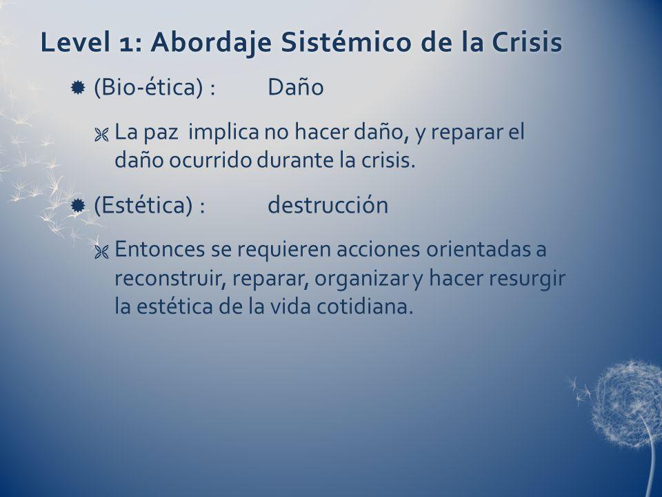 Level 1: Abordaje Sistémico de la CrisisLevel 1: Abordaje Sistémico de la Crisis (Bio-ética) :Daño La paz implica no hacer daño, y reparar el daño ocurrido durante la crisis.