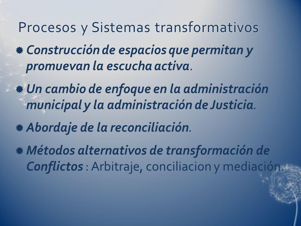 Procesos y Sistemas transformativosProcesos y Sistemas transformativos Construcción de espacios que permitan y promuevan la escucha activa. Un cambio