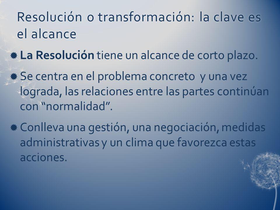 La Resolución tiene un alcance de corto plazo. Se centra en el problema concreto y una vez lograda, las relaciones entre las partes continúan con norm