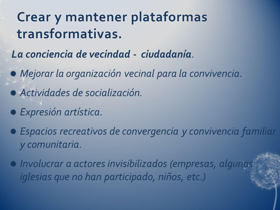 Crear y mantener plataformas transformativas. La conciencia de vecindad - ciudadanía. Mejorar la organización vecinal para la convivencia. Actividades