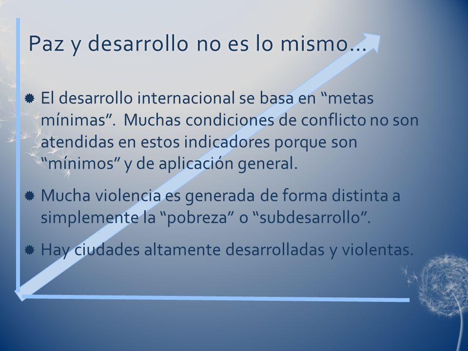 Paz y desarrollo no es lo mismo…Paz y desarrollo no es lo mismo… El desarrollo internacional se basa en metas mínimas. Muchas condiciones de conflicto