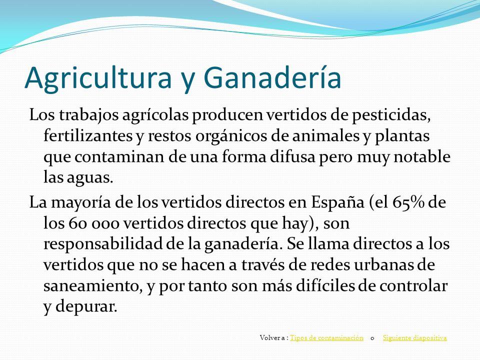 Agricultura y Ganadería Los trabajos agrícolas producen vertidos de pesticidas, fertilizantes y restos orgánicos de animales y plantas que contaminan