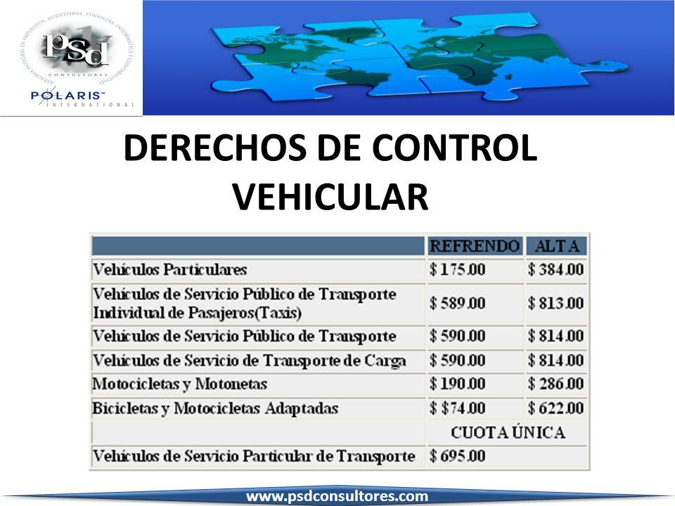 DERECHOS DE CONTROL VEHICULAR www.psdconsultores.com