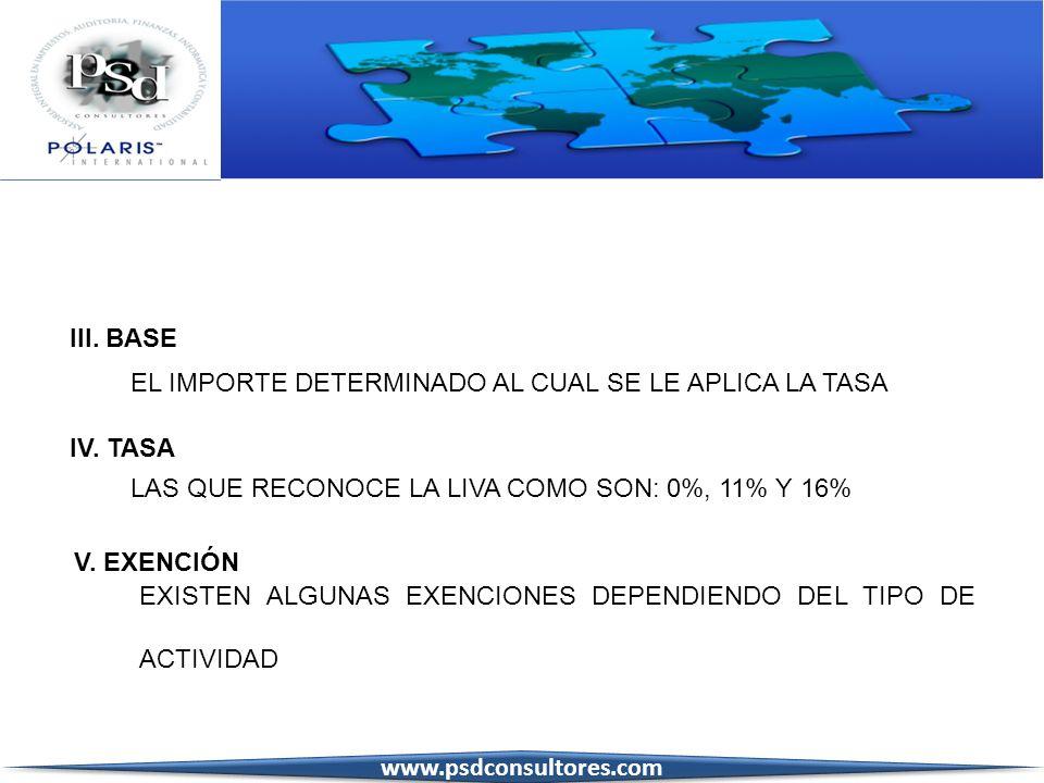 III. BASE EL IMPORTE DETERMINADO AL CUAL SE LE APLICA LA TASA IV. TASA LAS QUE RECONOCE LA LIVA COMO SON: 0%, 11% Y 16% V. EXENCIÓN EXISTEN ALGUNAS EX