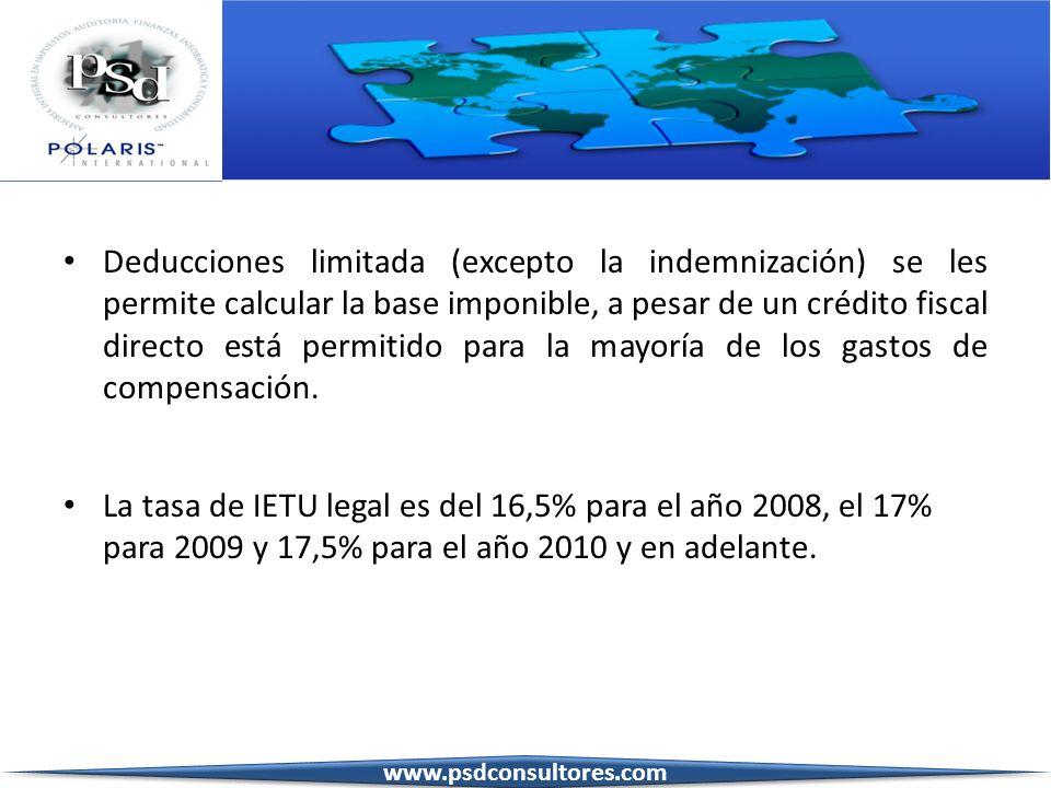 Deducciones limitada (excepto la indemnización) se les permite calcular la base imponible, a pesar de un crédito fiscal directo está permitido para la