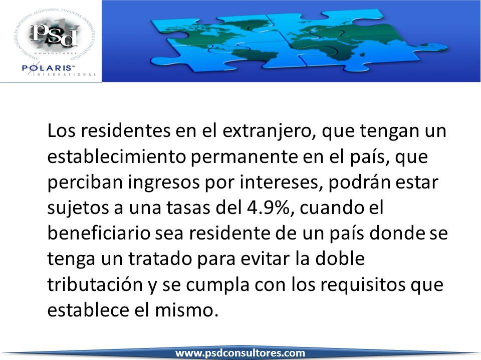 Los residentes en el extranjero, que tengan un establecimiento permanente en el país, que perciban ingresos por intereses, podrán estar sujetos a una