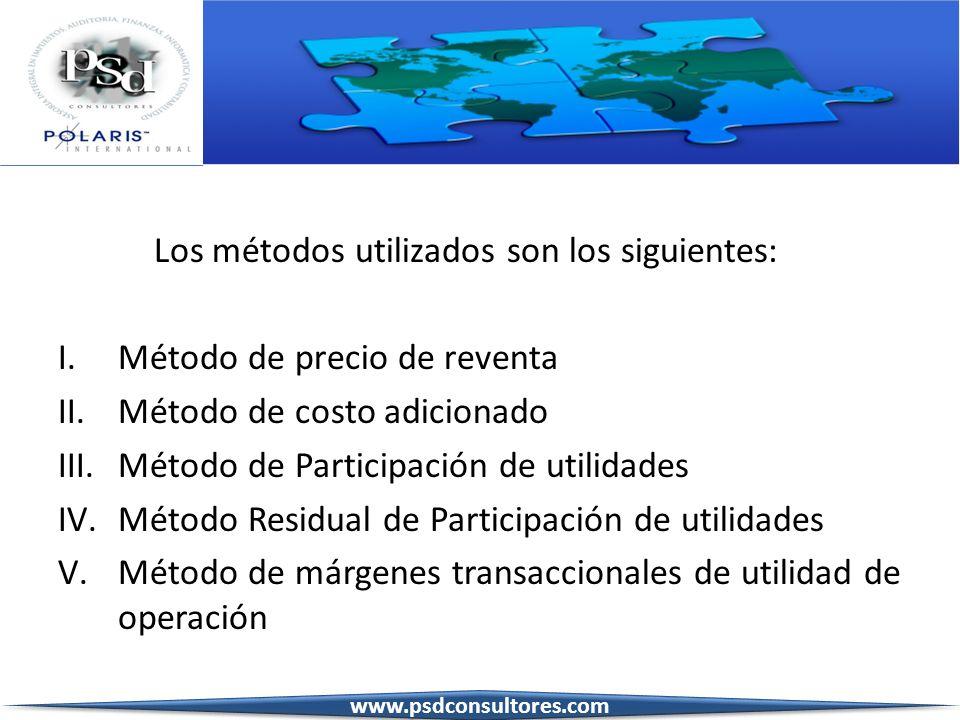 Los métodos utilizados son los siguientes: I.Método de precio de reventa II.Método de costo adicionado III.Método de Participación de utilidades IV.Mé