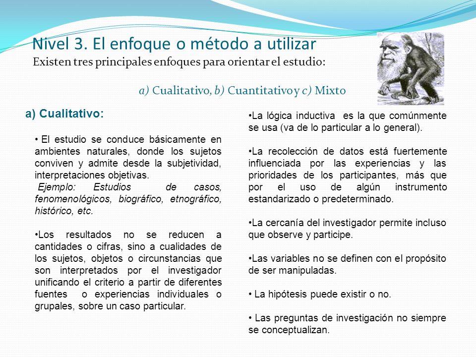 Nivel 3. El enfoque o método a utilizar Existen tres principales enfoques para orientar el estudio: a) Cualitativo, b) Cuantitativo y c) Mixto a) Cual