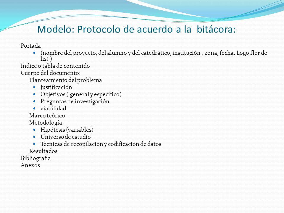 Modelo: Protocolo de acuerdo a la bitácora: Portada (nombre del proyecto, del alumno y del catedrático, institución, zona, fecha, Logo flor de lis) )